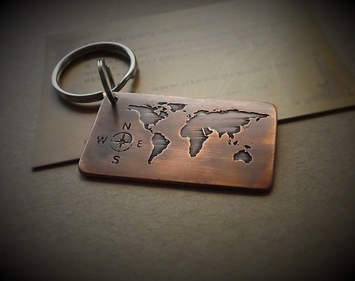Travel gift world map key ring personalised gift idea world map keyring gumiabroncs Gallery